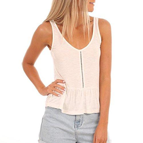Damen Kleidung, erthome Damen V-Ausschnitt Weste Fashion Camisole Ärmelloses T-Shirt aushöhlen Tank Tops (Weiß, S) (Tasche Top Scrub Eine V-ausschnitt)
