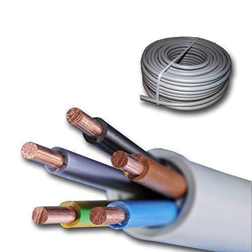 15 Meter Installationskabel NYM-J 5x6 mm² - Kunststoff Installationsleitung - 15m -PVC - grau