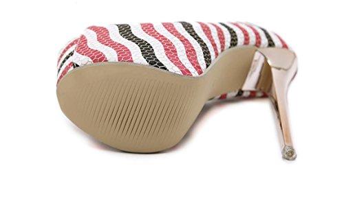 YCMDM FEMME Sandales à talons hauts Chaussures été 2017 Rome vent poissons bouche haute chaussures colorées sandales nude