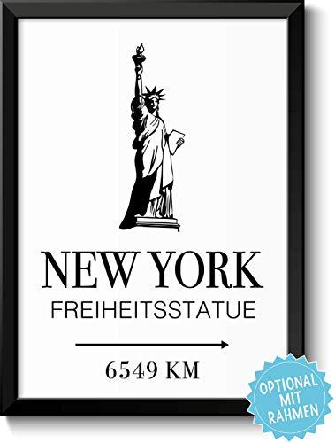 New York Freiheitsstatue mit Entfernungsangabe
