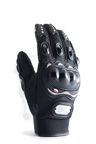 Motorradhandschuhe mit Protektoren in schwarz und mit Touchscreen für Herren und Damen, Motocross Handschuhe auch für Fahrrad, MTB, Roller, Sport, Mofa, Airsoft, Outdoor & Camping (M)