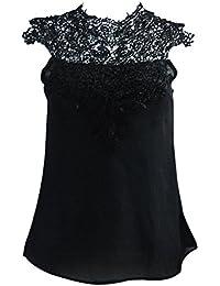 SODIAL(R) Fashion Frauen Sommer Spitze Blusen laessig Einfarbig Patchwork  Spitze Chiffon Hemd Oberteile 1f9bc7f7ee