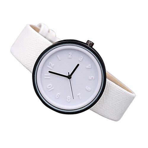Makefortune, einfache Mode-Zahl-Quarz-Uhren der Frauen, Segeltuch-Gurt-Armbanduhr 7 Farben