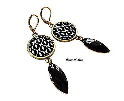 boucles d'oreilles cabochon noir et blanc bronze pendantes chic goutte cadeau