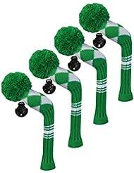 Scott Edward Housses de tête de club de golf hybride/utilitaires, 4 pièces Emballé, Blanc Argyle, fil Acrylique Double-layers en tricot, avec rotatif Nombre balises, Green