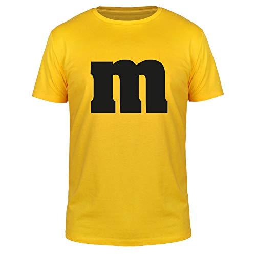 FABTEE - M und M - Karneval Herren T-Shirt Baumwolle Größen S-3XL, Größe:S, Farbe:Gelb