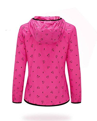 Femme Léger Imperméable Veste Randonnée Escalade Zipper Impression Manteau À Capuchon Rouge