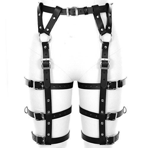 d3ea072bb957c BANSSGOTH Leather Leg Stockings Suspender Garter Belt for Men s Women s  Goth Sexy Body Harness Lingerie Belt