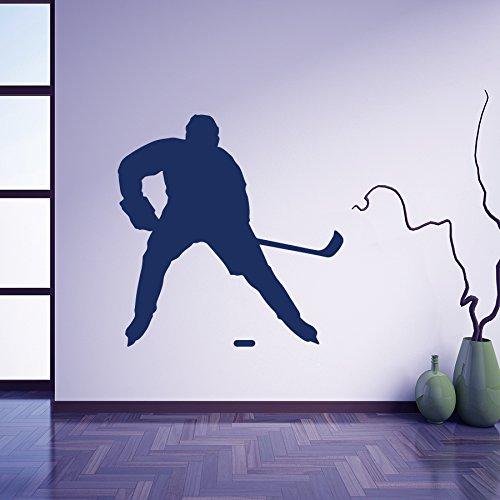 Vinyl Wandtattoo Wettbewerb Hockey Eishockeyspieler Spieler Eislaufen Winter Sport Ball Ballspiel Wandaufkleber Wandsticker Wanddekoration Dekoration für Kinderzimmer, Schlafzimmer, Studio M154