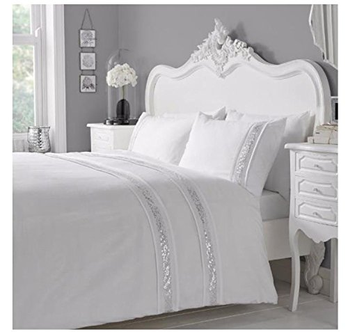 Mason Gray Serene – Glance – Horizontal Rows of Golden Sequins Duvet Cover Set – Single, White