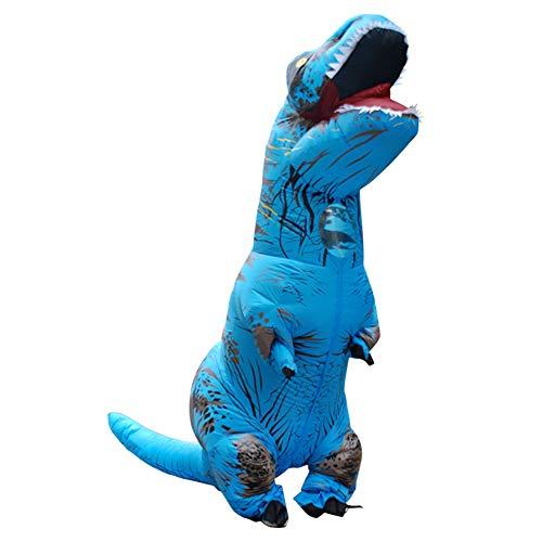 BOFEISI T-Rex Kostüm Erwachsene Aufblasbare Dinosaurier Halloween Cosplay 4,9-6,2 Fuß Wasserdicht Polyester Fancy Dinosaurier Kleid,Blue