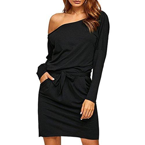 Damen Kleider, GJKK Damen Elegant Solid Schulterfreies Langärmelig Mini Kleid Elastische Abendgesellschaft Minikleid Frauen Abendkleid Partykleid (Schwarz, L) (Mini-chiffon-cocktail-kleid)