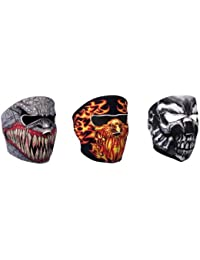 "Lot de 3 Cagoule Masque Neoprene ""Assassin's Skull + Demon + Phoenix"" Taille unique réglable par velcro - Airsoft - Paintball - Moto - Ski - Snow - Surf - Outdoor"