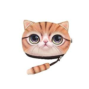 Chinget Niedlich Katze Form Mit Lanyard Geldbörse Geldtasche Polyester Geldbeutel Münzen Beutel Portmonee (A)