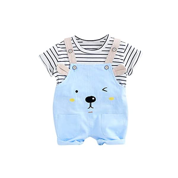 Trisee Niños Trajes Raya Corta Tops y Lindo Oso de Dibujos Animados Imprimir Pantalones Babero 2pcs Set Unisex BabySuits… 2