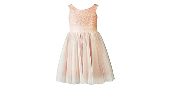 39c6a500a1d thstylee Blush Pink Sequin Tulle Flower Girl Dress Junior Bridesmaid Dress  Kids Formal Dress US Size 5 Blush Pink  Amazon.co.uk  Clothing