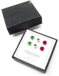 pewterhooter 3 pairs of 925 Sterling Silver stud earrings expertly made with Crystal, Peridot and Fuchsia crystal from SWAROVSKI® for Women