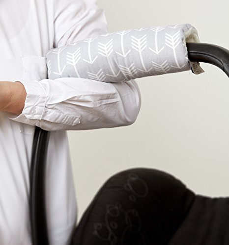 Preisvergleich Produktbild KraftKids Armschoner Babyschale weiße Anker auf Grau Babyschale Armpolster