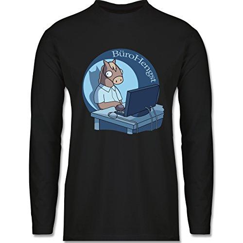 Shirtracer Statement Shirts - BüroHengst - Herren Langarmshirt Schwarz