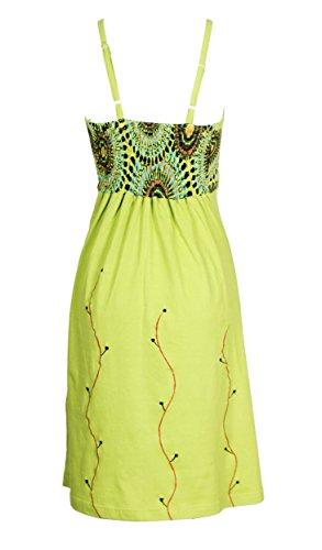 Damen Grün-Beleg-Kleid mit bunten Blumen-Stickerei Grün