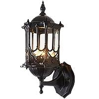 CASEWIND Vintage Amerikanisch Stil Schwarz Wasserdicht Außenwandleuchten Wandlampe Wandbeleuchte aus Aluminium und Glas Ohne Birne 220V E27