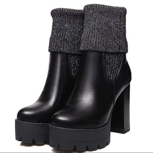 LINYI Frauen High Heels Leder Stricken Schuhe Wolle Nähte Runden Kopf Pumpen Stiefel,Black-34