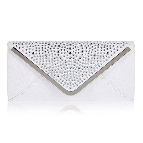 Damara Damen Glanz Pailletten Strass Steine Abendtaschen,Weiß Weiß