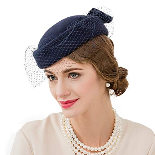 OLADO Fascinators Cappelli da Sposa per Donna Elegant Wool Felt Pillbox Hat Vintage Church Fedoras Royal cap