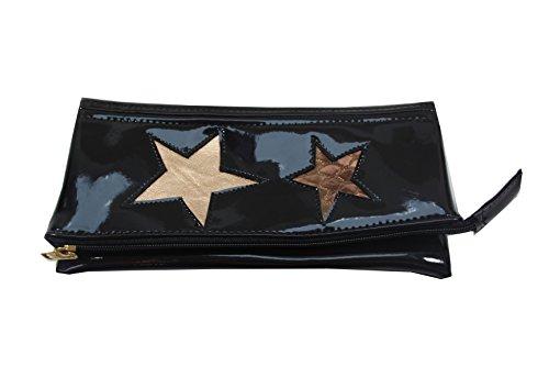 schwarze Lack Clutch Lack mit Sternen (Handtasche Bronze-abend)