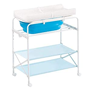 Baby Changing Table Foldable Bathing Station with Pad, Newborn Care Station Table Height Adjustable for Infant- Blue   11