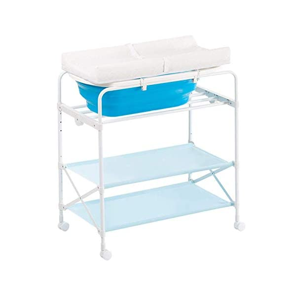 Baby Changing Table Foldable Bathing Station with Pad, Newborn Care Station Table Height Adjustable for Infant- Blue GUYUE Two in one design- Baby changing table can be used as baby massaging table as well or dry your baby's small clothes, also can bathing. Iron tube paint + plastic + polyester mesh. Size- As shown, 85x50x100~130cm Folding size- 85x24x112.5~132.5cm (1cm=0.39 inch) Suitable for babies 0~2 years old. 1
