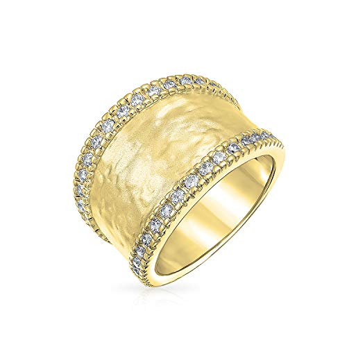 Bling Jewelry 14K Vergoldet Messing Ebnen Cz Boho Mode Statement Gehämmert Band Ring Für Damen Für Jugendlich Matt 7Mm -