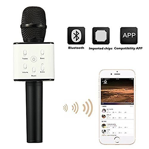 FREE USB LIGHT with KARTsHitech Karaoke Mic Wireless, Portable Handheld Singing Machine Condenser Microphones Mic and Bluetooth Speaker Compatible with iPhone/ iPad/ iPod/ and All Android Smartphones( Free USB Light) (black)