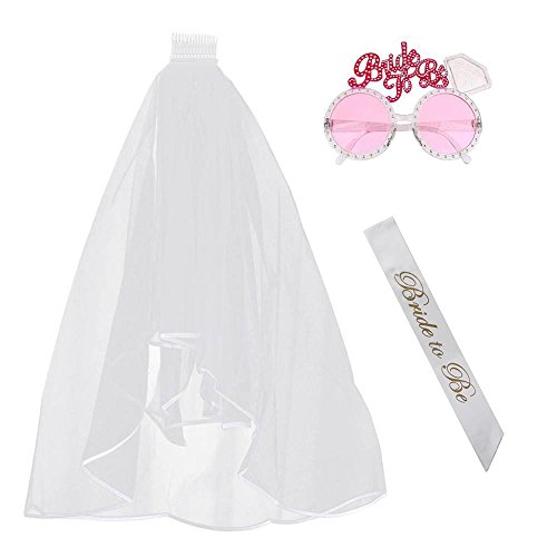 Alxcio Braut Hochzeit JGA deko Junggesellinenabschied Accessoires Braut to be Henne Schärpe Weißer Schleier und Rosa Brille - Perfektes Set Für Bachelorette Party - Team Braut
