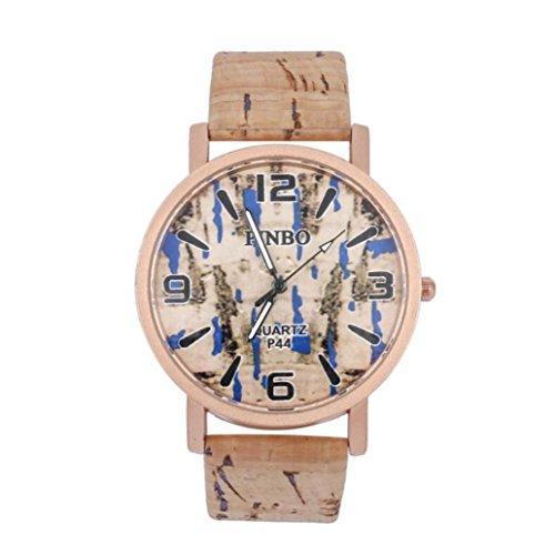 Qmber armbanduhren für Herren,Herren Female Mirror Persönlichkeit Runden Zifferblatt Quarz Liebhaber Watch Vintage (Blau)