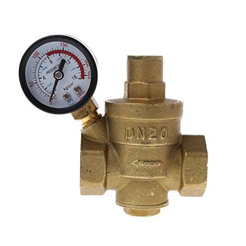 """Preisvergleich Produktbild Manyo Einstellbare Messing-Wasserdruckminderer mit Manometer, 1/2"""", PN 1,6, 1 Stück. (DN20)"""