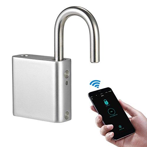Blusea Bluetooth Vorhängeschloss, BT Vorhängeschloss Schlüsselloses Vorhängeschloss durch Taste/Fingerabdruck/Passwort für Android iOS Quadra-Form -