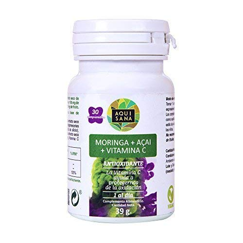 Moringa and vitamin C to reduce cholesterol and as a natural anti-inflammatory - Moringa + Acai + Vitamin C as a natural antioxidant and to help lose weight - 30 tablets