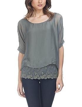 Laura Moretti - Blusa de seda de extragrande asimétrica con encajes y bordados