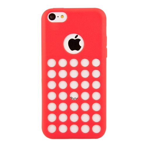 kwmobile ÉTUI EN SILICONE Design polka pour Apple iPhone 5C Design stylé et protection optimale polka blanc rouge