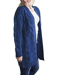 Prendas de Abrigo para Mujer Punto de Manga Larga para Mujer Frente Abierto Suéteres de Punto Ropa de Abrigo Informal de Chaqueta Tipo cárdigan de Punto Grueso Grueso de Ms. Twist by BaZhaHei