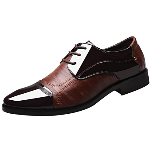 PLOT Lederschuhe Herren,Herren Business Schuhe Hochzeit Schnürhalbschuhe Elegant Oxford Anzug Leder Derby Männer Lackleder Lederschuhe 37-46 (43 EU, Braun)