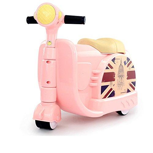 Sumferkyh Motorrad Koffer Zwei-in-One-Koffer Kann männliche und Weibliche Baby Trolley Fahren Koffer (Farbe : Rosa)