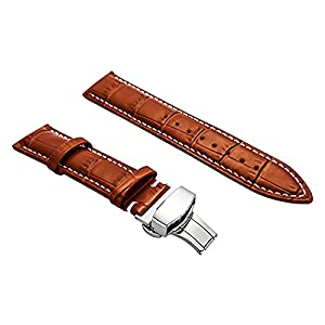BONSTRAP Damen Leder Uhrenarmband 16-22mm Braun