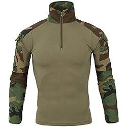 LANBAOSI Chemise de Combat Militaire Homme Airsoft Shirt Tenue Camouflage Uniforme Tactique Séchage Rapide à Manches imperméables Vert Medium