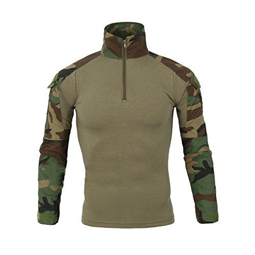 LANBAOSI Chemise de Combat Militaire Homme Airsoft Shirt Tenue Camouflage Uniforme Tactique Séchage Rapide à Manches imperméables Vert Small