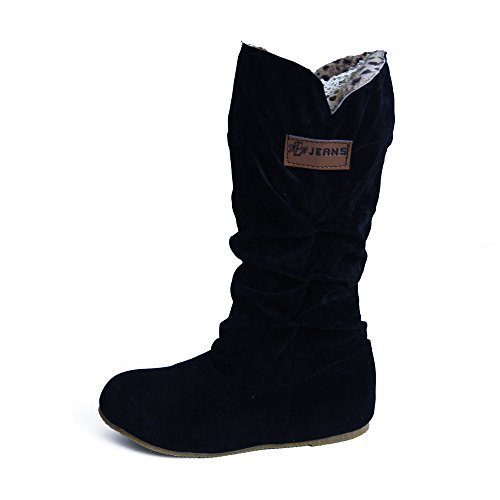 Botas Alto Invierno Mujeres, LANSKIRT Mujer Botas Altas hasta la Rodilla Bota de Tacón Plano Zapatos...