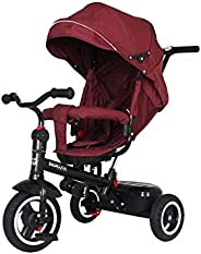 Kiwicool Kids Tricycle 7-in-1 Baby Trike Tricycle with Push Handle/Wheel Clutch/Rotating and Reclining Seat for Children to