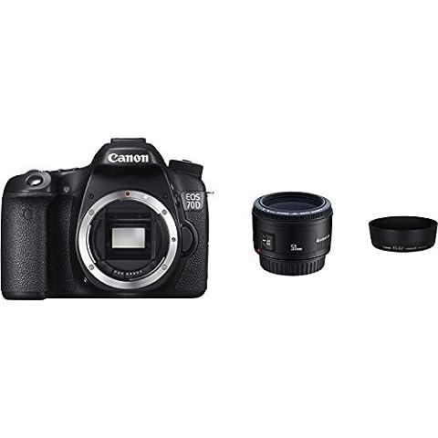 Canon EOS 70D mit EF 50mm f/1.8 II und Gegenlichtblende ES-62 W Kamera (20,2 Megapixel CMOS-Sensor, 19 AF-Kreuzsensoren)