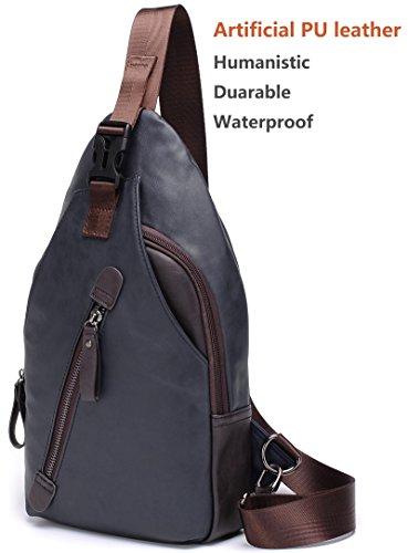 FreeMaster Crossbody-Rucksack für Herren, Vintage-Stil, PU-Leder, zum Wandern, klein blau